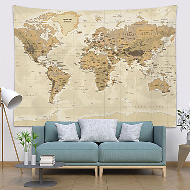 cheap Wall Tapestries-Wall Tapestry Art Decor Blanket Curtain Picnic Tablecloth Hanging Home Bedroom Living Room Dorm Decoration World Map Topography Parchment Style