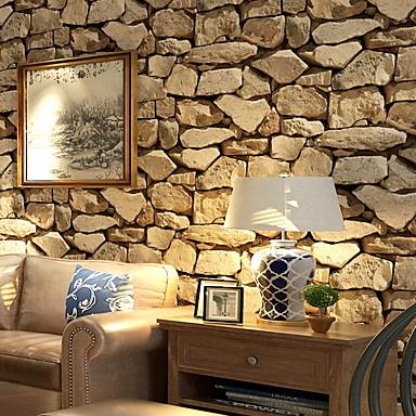 """cheap Wallpaper-Faux Rock Stone Peel and Stick Wallpaper 20""""x 395"""" Lt.Grey/Brown"""