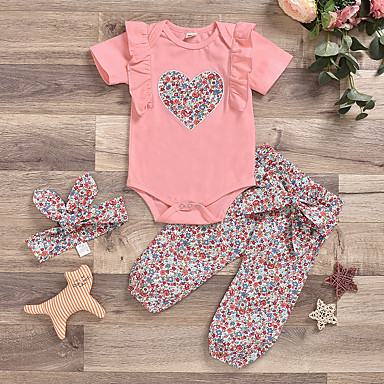 cheap Baby Girls' Clothing Sets-Baby Girls' Active Boho Easter Print Print Short Sleeve Regular Clothing Set Blushing Pink / Toddler