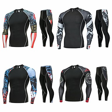 cheap Free shipping over $59, Sports & Outdoor-Men's 2-Piece Patchwork Spandex Activewear Set Workout Outfits Compression Suit 2pcs Winter Running Basketball Fitness Breathable Quick Dry Anatomic Design Sportswear Plus Size Top Bottoms Clothing