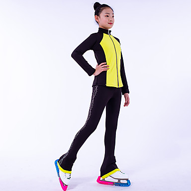 Over The Boot Figure Skating Tights Figure Skating Fleece Jacket Girls' Ice Skating Top Bottoms Dark Pink Yellow Royal Blue Fleece Spandex High Elasticity Training Competition Skating Wear Crystal