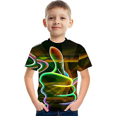 cheap Boys' Tops-Kids Boys' Basic Street chic Color Block 3D Print Short Sleeve Tee Red