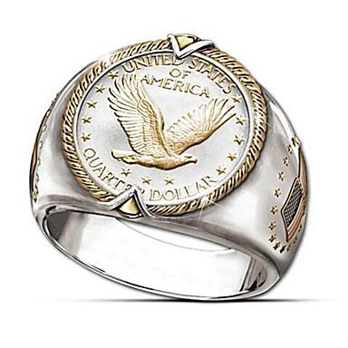 voordelige Heren Ring-Man vrouw Ring 1pc Goud 18 Karaats Verguld Messinki Rond Stijlvol Lahja Festival Sieraden Klassiek Eagle