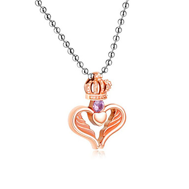 cheap Pendant Necklaces-Men's Women's Cubic Zirconia Pendant Necklace Classic Heart Fashion Stainless Steel Black Gold 50 cm Necklace Jewelry 1pc For Party Evening Festival