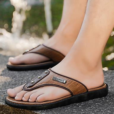 cheap Men's Slippers & Flip-Flops-Men's Leather Spring & Summer Classic / Preppy Slippers & Flip-Flops Walking Shoes Breathable Light Brown / Dark Brown