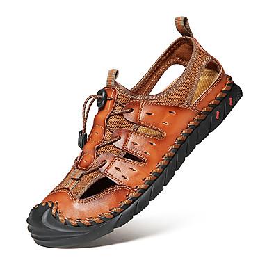 preiswerte Herren Sandalen-Herrn Komfort Schuhe Frühling / Sommer Freizeit Alltag Draussen Sandalen Walking Nappaleder Atmungsaktiv Braun / Schwarz