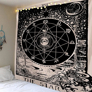 cheap Wall Tapestries-Tarot Divination Wall Tapestry Art Decor Blanket Curtain Picnic Tablecloth Hanging Home Bedroom Living Room Dorm Decoration Mysterious Bohemian Moon Sun Star Astrolabe