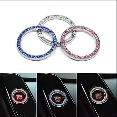 preiswerte Autoinnenräume zum Selbermachen-Auto Innenraum Ein-Schlüssel Motor Start Stopp Zündung Druckknopf dekorative Diamante Ring