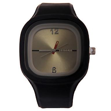 baratos Relógios Quadrados e Retangulares-Mulheres Relógio Esportivo Fashion Colorido Silicone Quartzo Branco Preto Azul Dois Fusos Horários Adorável 1 Pça. Analógico Um ano Ciclo de Vida da Bateria