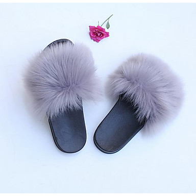 cheap Slippers-Women's Slippers Stylish / Casual Faux Fur solid color Shoes