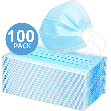 cheap Face Masks-In Stock 100PCS 3-layer Disposable Masks Safe Breathable Mouth CE Certified Face Mask Disposable Ear loop Face for Personal Protection