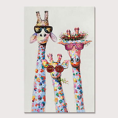 cheap Oil Paintings-Mintura Hand Painted Giraffe Animals Oil Paintings on Canvas Modern Abstract Wall Picture Pop Art Posters For Home Decoration Ready To Hang With Stretched Frame