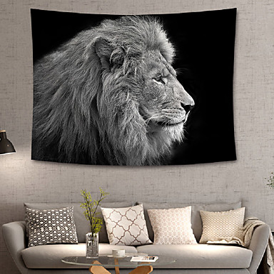 cheap Wall Tapestries-Home Living Animal Tapestry Wall Hanging Tapestries Wall Blanket Wall Art Wall Decor Black Lion Tapestry Wall Deco