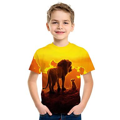 cheap Baby & Kids-Kids Boys' Active Street chic Lion 3D Animal Print Short Sleeve Tee Yellow
