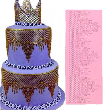 cheap Bakeware-1pcs Jewelry Lace Pad Silicone Fondant Lace Mold Wedding Cake Decora