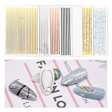 cheap Nail Stickers-7 pcs 3D Nail Stickers Vertical / Gold bar nail art Manicure Pedicure Universal / Creative Korean / Fashion Daily