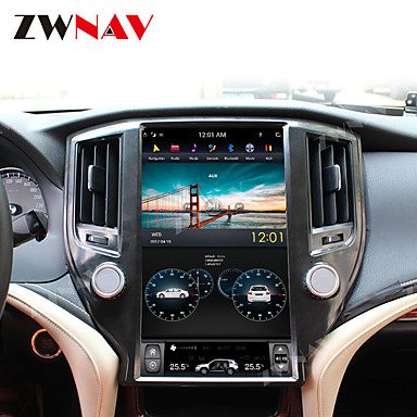cheap Car GPS Navigation-ZWNAV 13.5inch 1din 4GB 64GB Android 8.1 PX6 Tesla style Car GPS Navigation car multimedia player Car MP5 Player Auto radio tape recorder For TOYOTA CROWN 2012