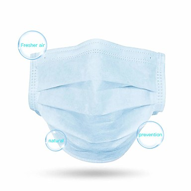 cheap Beauty & Hair-100 pcs Workplace Safety Supplies Face Mask Breathable Dust Proof Disposable Protection 3 Layers Blue