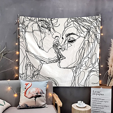 cheap Wall Art-Youth Vigor Abstract Sketch Art Kiss Lovers Tapestry For Wall Decoration Rooms 90.5''L×70.8''W (Kissing Lovers Tapestry)