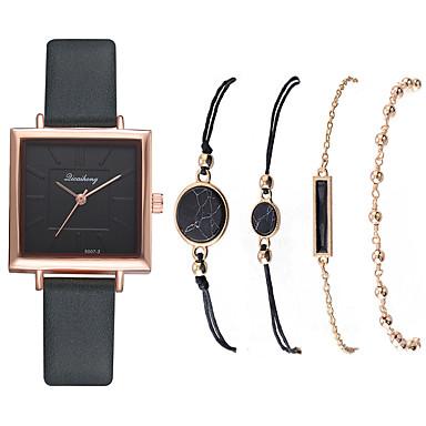 저렴한 정사각형 및 직사각형 시계-여성용 석영 새로운 도착 패션 블랙 화이트 블루 인조 가죽 석영 화이트 블랙 푸른 크로노그래프 귀여운 캐쥬얼 시계 1 세트 아날로그 1 년 배터리 수명