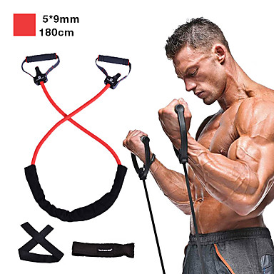 Resistance Band Set 5 pcs Door Anchor Exercise Handles Exercise Bands Sports Latex Home Workout Gym Exercise & Fitness Anti-Wear Strength Training Heavy Duty Muscular Bodyweight Training Muscle