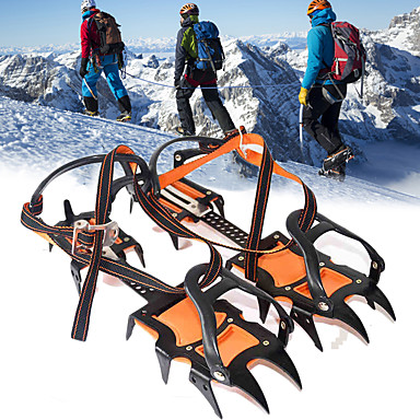 cheap Camping Tools, Carabiners & Ropes-Traction Cleats Crampons Spikes Ice Gripper Cleats 12 Teeth Professional Adjustable Anti-skidding Stainless Steel Nylon Hiking Climbing Camping Outdoor Walking Orange / Black 2 pcs