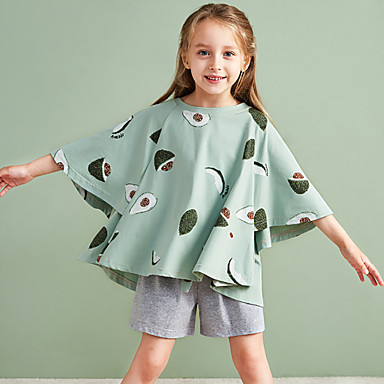 cheap Girls' Underwear & Socks-2 Piece Kids Toddler Girls' Active Basic Geometric Color Block Fruit Ruffle Monogram Stylish Sleepwear Green