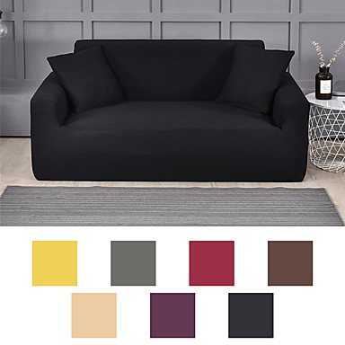 cheap Home Textiles-Classic Solid Dustproof Stretch Slipcovers Stretch Sofa Cover Super Soft Fabric Couch Cover (You will Get 1 Throw Pillow Case as free Gift)