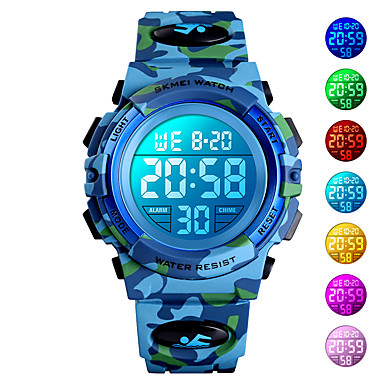 cheap Women's Watches-SKMEI Kids Digital Watch Quartz Modern Style Sporty Outdoor Alarm Digital Blue Green Light Blue / One Year / Silicone / Calendar / date / day / Chronograph / Stopwatch