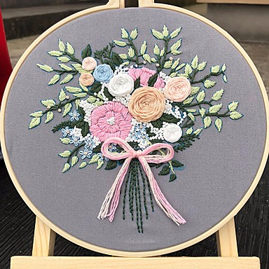 cheap Bag Parts & Accessories-Handmade Embroidery DIY Material pack novice embroidery flower fabric retro cross stitch small living room hanging painting unique mother's day gift