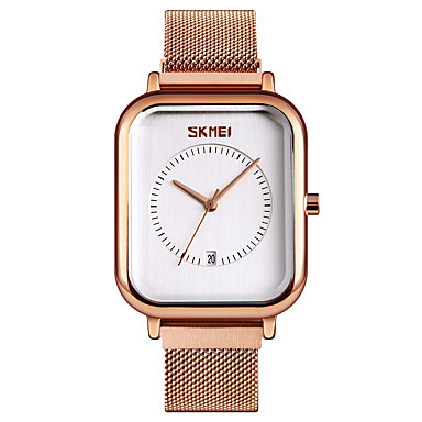 cheap Square & RectangularWatches-SKMEI Women's Quartz Watches Quartz Formal Style Modern Style Casual Water Resistant / Waterproof Stainless Steel Black / Silver / Rose Gold Analog - Rose Gold White+Gold Black One Year Battery Life