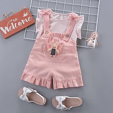 رخيصةأون مجموعات ملابس البيبي-مجموعة ملابس كم قصير مخطط للفتيات طفل