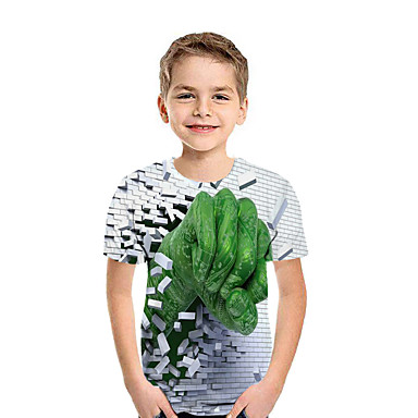cheap Baby & Kids-Kids Boys' Active Street chic Geometric 3D Patchwork Print Short Sleeve Tee Rainbow