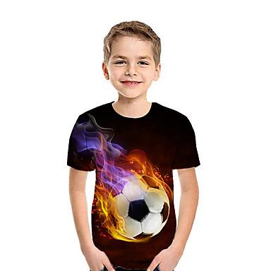 billiga Spädbarn & Barn-Barn Pojkar Aktiv Streetchic Geometrisk 3D Lappverk Tryck Kortärmad T-shirt Regnbåge