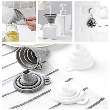 cheap Kitchen Utensils & Gadgets-Protable Mini Silicone Foldable Funnels Collapsible Telescopic Funnel Hopper Kitchen Cooking Tools Cozinha Accessories Gadgets