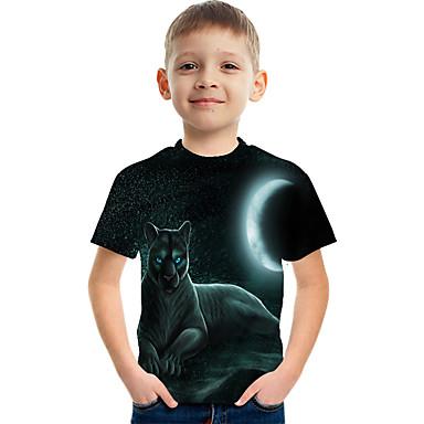 hesapli Kids CollectionUnder $8.99-Çocuklar Genç Erkek Temel Sokak Şıklığı Zıt Renkli 3D Hayvan Desen Kısa Kollu Tişört Koyu Mavi