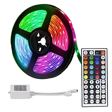 LOENDE 5m LED Strip Lights RGB Tiktok Lights 300 LED 2835 SMD RGB Tape Lights Self Adhesive Multicolor for Room Kitchen TV Festival Illumination with Remote 12V