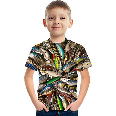 hesapli Kids CollectionUnder $8.99-Çocuklar Genç Erkek Actif Sokak Şıklığı Zıt Renkli 3D Desen Kısa Kollu Tişört Gökküşağı