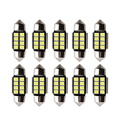 cheap Car Lights-10pcs Car led c5w led bulb CANBUS 12V Festoon 31mm 36mm 39mm 41mm c5w c10w reading lamp car Interior Light 2835 SMD white