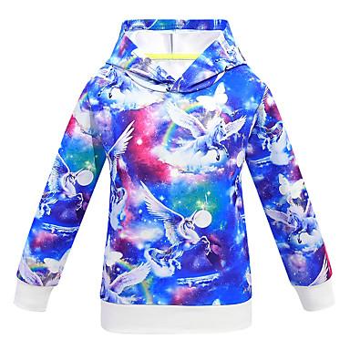 billiga Flickhuvtröjor och sweatshirts-Barn Flickor Aktiv Grundläggande Unicorn Galax 3D Långärmad Huvtröja och sweatshirt Blå