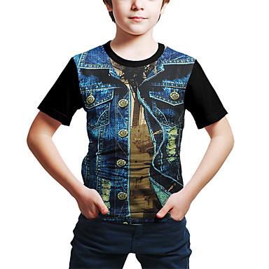 cheap Baby & Kids-Kids Boys' Active Basic Color Block 3D Print Short Sleeve Tee Black