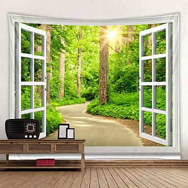 cheap Wall Tapestries-Window Landscape Wall Tapestry Art Decor Blanket Curtain Picnic Tablecloth Hanging Home Bedroom Living Room Dorm Decoration Polyester Forest