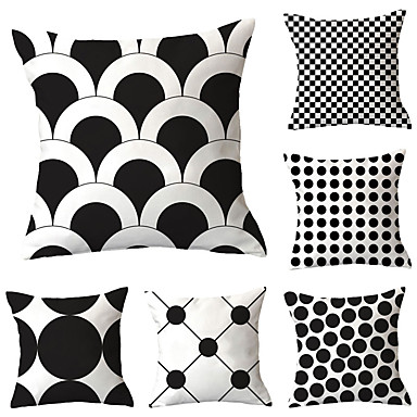 cheap Decorative Pillows-Set of 6 Polyester Pillow Cover, Polka Dot Geometric Simple Classic Square Traditional Classic Throw Pillow