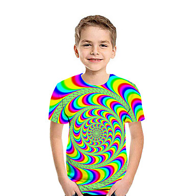 cheap Baby & Kids-Kids Boys' Active Street chic Geometric 3D Patchwork Pleated Print Short Sleeve Tee White