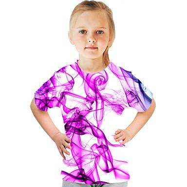 abordables Tops-Enfants Fille Basique Chic de Rue Bloc de Couleur 3D Imprimé Manches Courtes Tee-shirts Arc-en-ciel