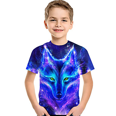 cheap Boys' Tops-Kids Toddler Boys' Active Basic Wolf Galaxy 3D Animal Print Short Sleeve Tee Blue