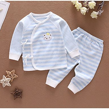 preiswerte Babykleidung Jungen-Baby Jungen Gestreift Schlafanzüge Rosa