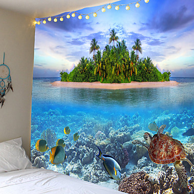 cheap Wall Tapestries-Wall Tapestry Art Decor Blanket Curtain Picnic Tablecloth Hanging Home Bedroom Living Room Dorm Decoration Animal Fish Underwater World Tropical Island