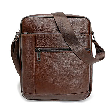 hesapli Erkek Çocuk Çantaları-Erkek Fermuar Gerçek Deri Omuz çantası Deri çanta Siyah / Kahverengi