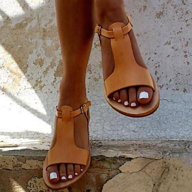 cheap Women's Sandals-Women's Sandals Flat Sandal Summer Flat Heel Open Toe Daily PU Black / Yellow